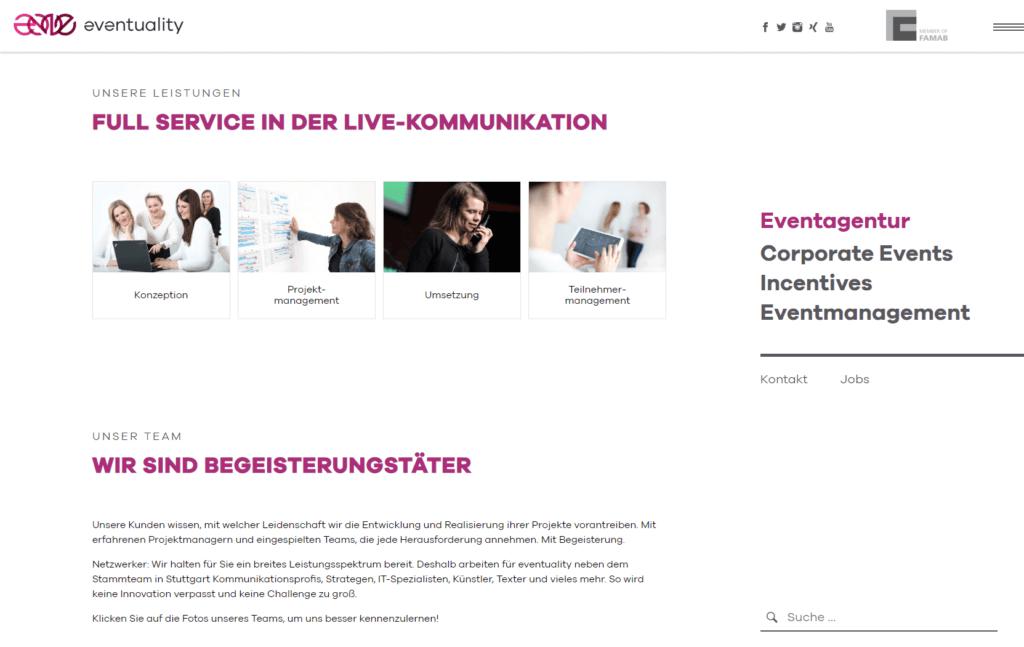 Unternehmenswebsite Eventagentur