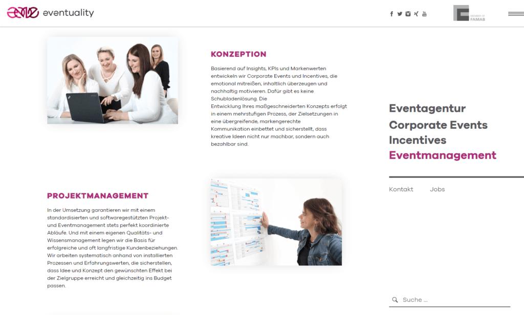 Unternehmenswebsite Eventmanagement