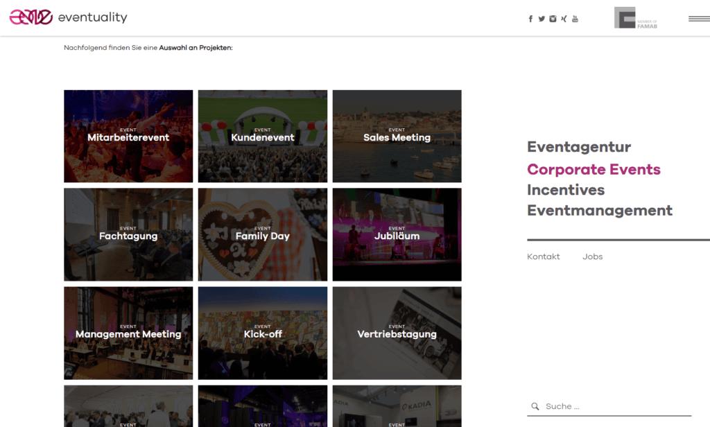 Unternehmenswebsite Events