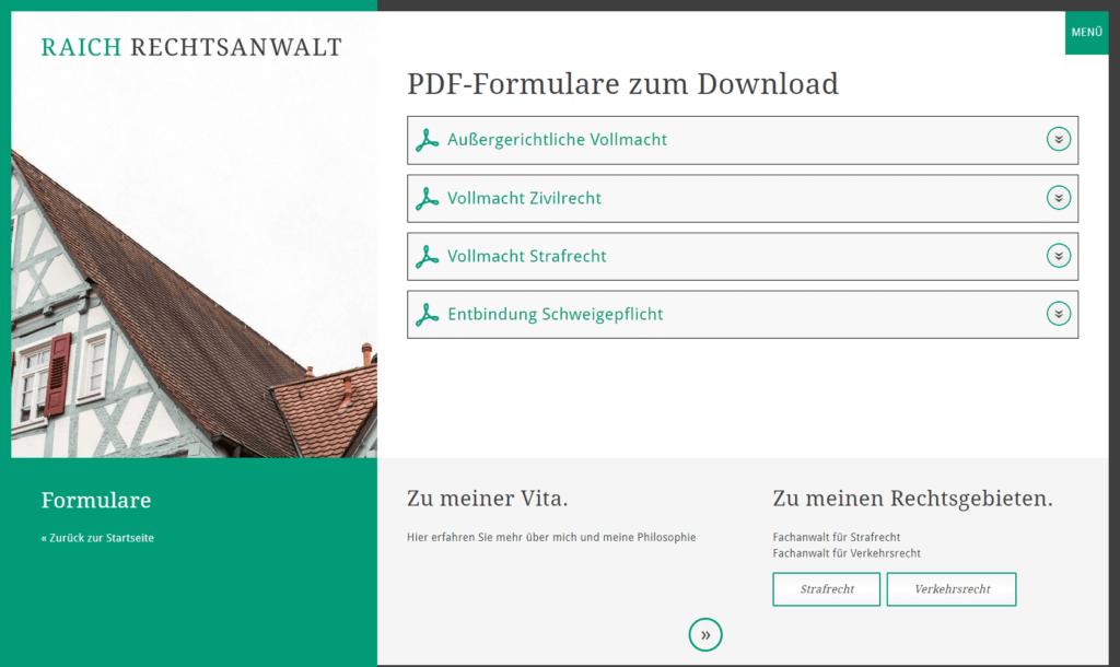 Unternehmenswebsite Formular