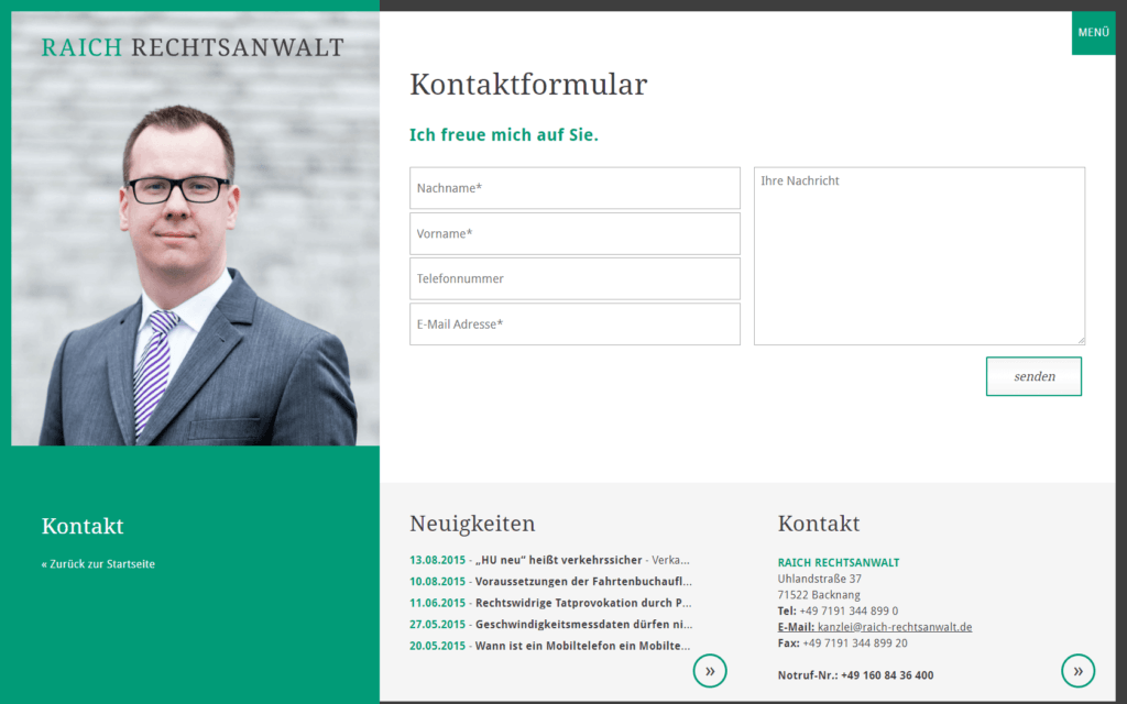 Unternehmenswebsite Kontakt