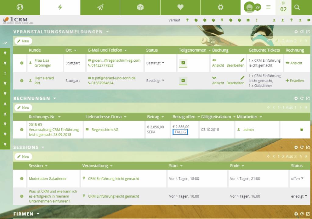 Veranstaltungsplaner Checkliste Anmeldungen